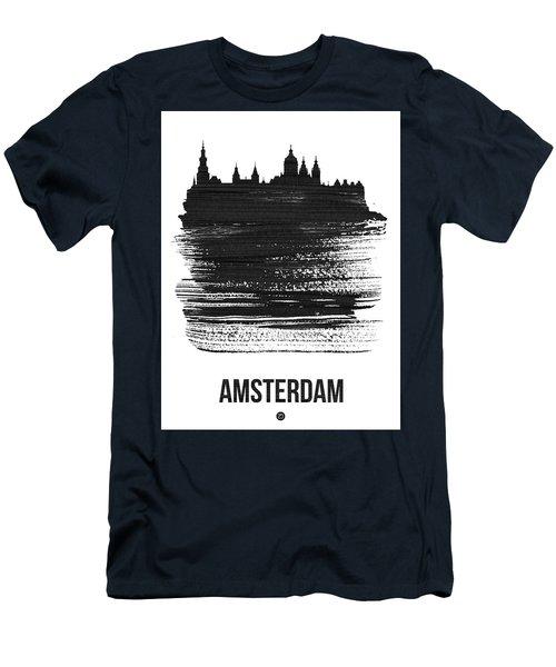 Amsterdam Skyline Brush Stroke Black Men's T-Shirt (Athletic Fit)