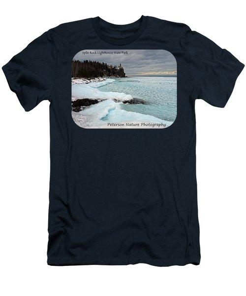 Aqua Ice At Split Rock Lighthouse Men's T-Shirt (Athletic Fit)