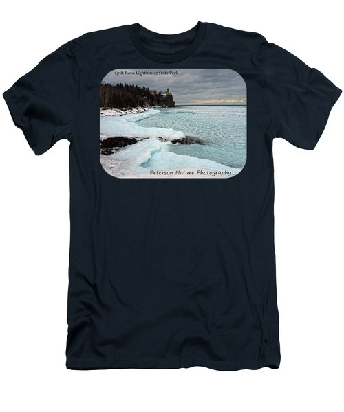 Men's T-Shirt (Athletic Fit) featuring the photograph Aqua Ice At Split Rock Lighthouse by James Peterson