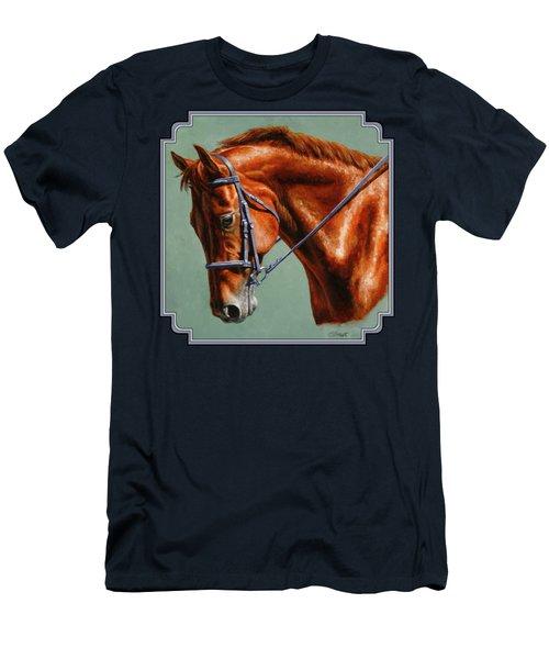 Chestnut Dressage Horse Portrait Men's T-Shirt (Athletic Fit)