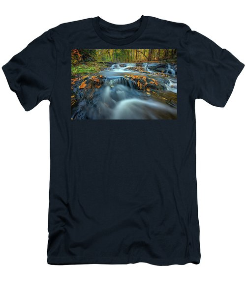 Men's T-Shirt (Athletic Fit) featuring the photograph Autumn Cascade In Vaughan Woods by Rick Berk