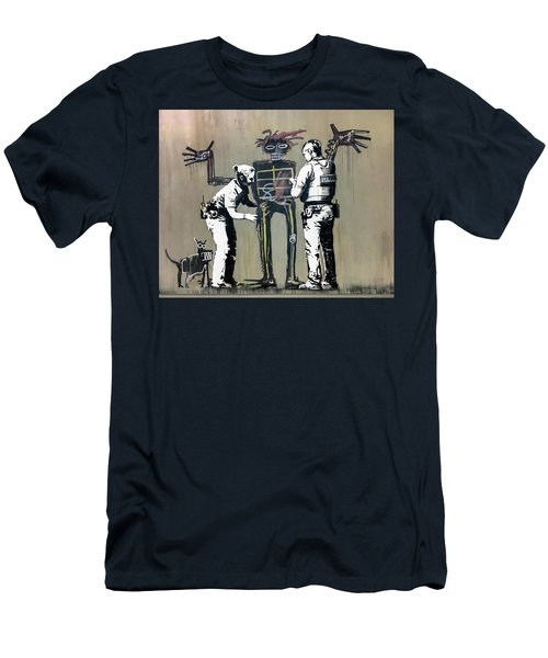 Men's T-Shirt (Athletic Fit) featuring the photograph Banksy Coppers Pat Down by Gigi Ebert