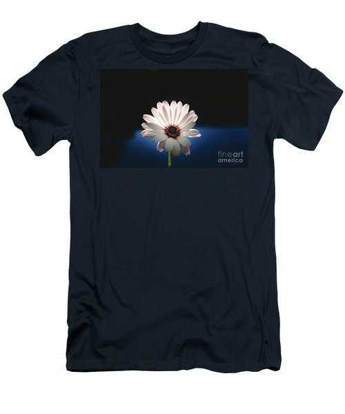 Beautiful And Delicate White Female Flower Dark Background Illum Men's T-Shirt (Athletic Fit)