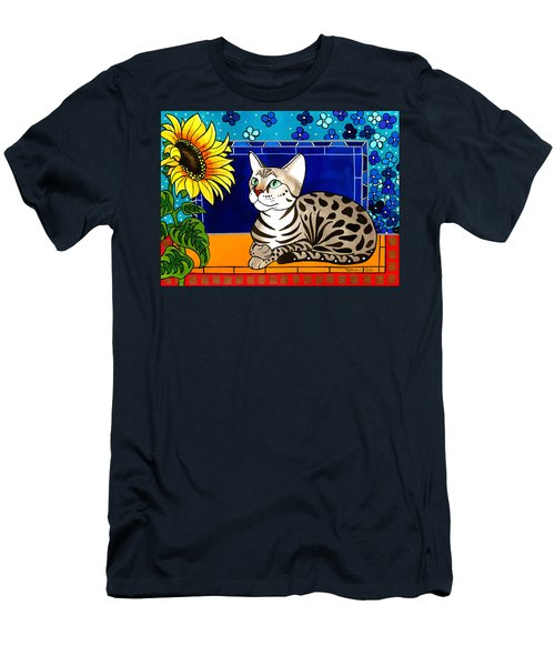 Beauty In Bloom - Savannah Cat Painting Men's T-Shirt (Athletic Fit)