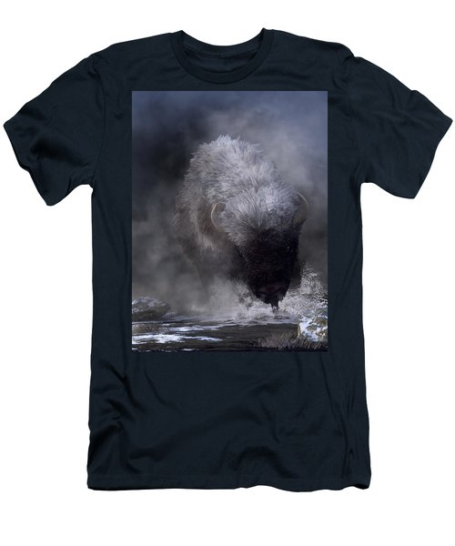 Buffalo Charging Through Snow Men's T-Shirt (Athletic Fit)
