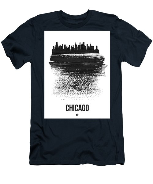 Chicago Skyline Brush Stroke Black Men's T-Shirt (Athletic Fit)