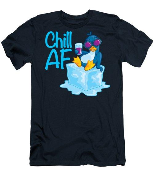 Chill Af Penguin On Ice Men's T-Shirt (Athletic Fit)