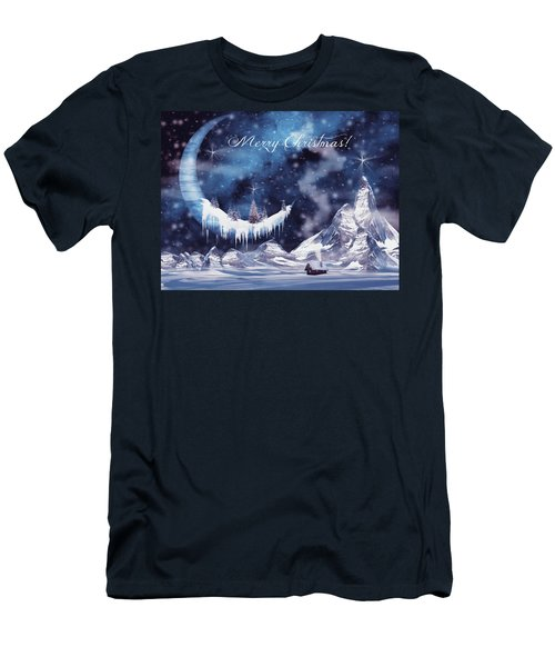 Christmas Card With Frozen Moon Men's T-Shirt (Athletic Fit)
