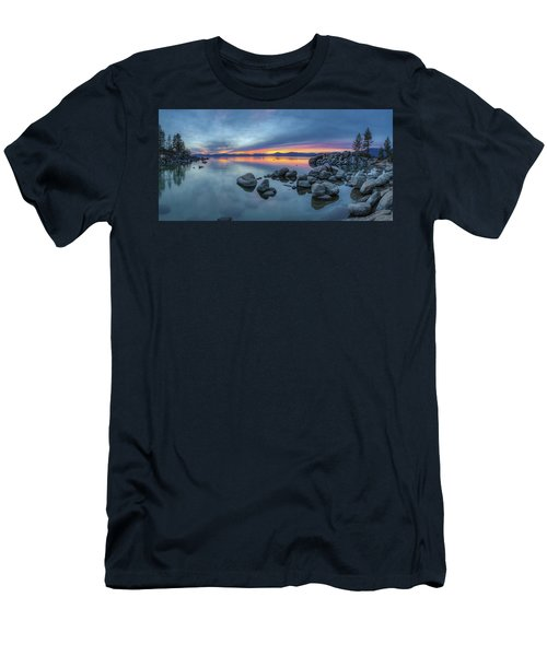 Colorful Sunset At Sand Harbor Panorama Men's T-Shirt (Athletic Fit)