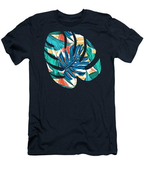 Colorful Tropical Jungle Leaves Men's T-Shirt (Athletic Fit)