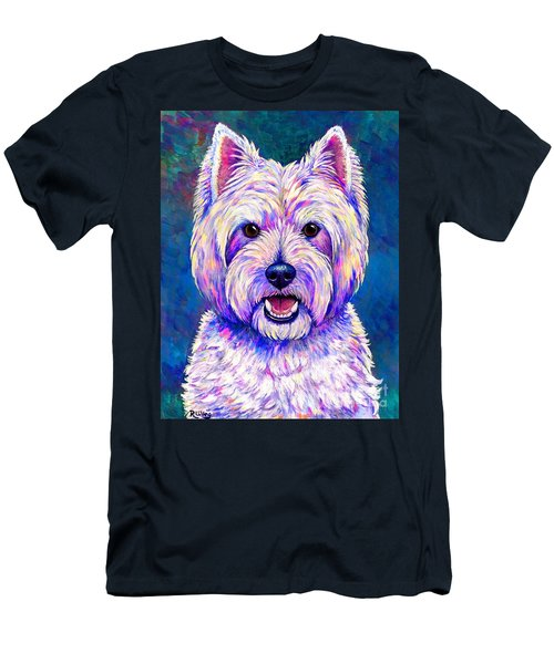 Colorful West Highland White Terrier Blue Background Men's T-Shirt (Athletic Fit)