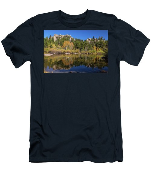 Men's T-Shirt (Athletic Fit) featuring the photograph Cool Calm Rocky Mountains Autumn Reflections by James BO Insogna