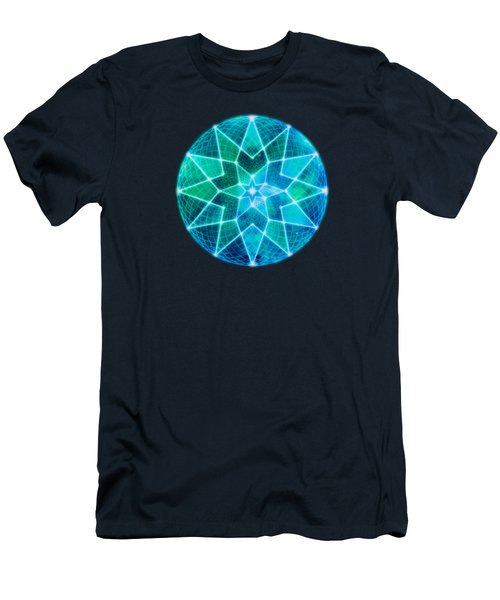 Cosmic Geometric Seed Of Life Crystal Turquoise Lotus Star Mandala Men's T-Shirt (Athletic Fit)