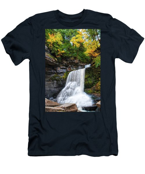 Men's T-Shirt (Athletic Fit) featuring the photograph Cowshed Falls At Watkins Glen State Park - Finger Lakes, New York by Lynn Bauer