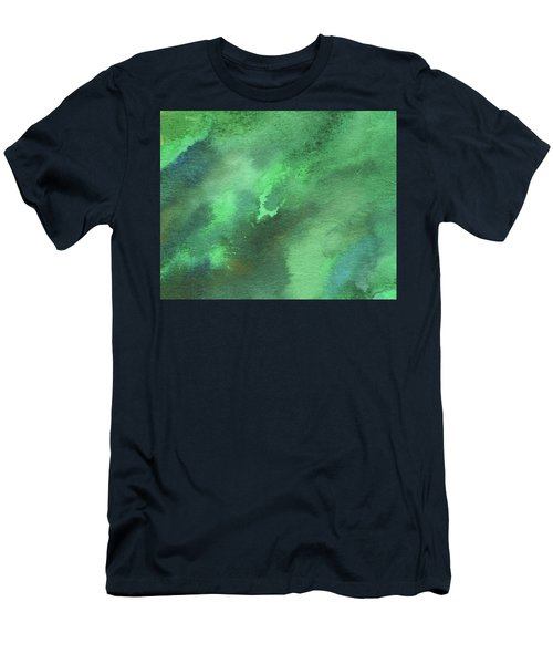 Dramatic Organic Green Abstract In Watercolor  Men's T-Shirt (Athletic Fit)