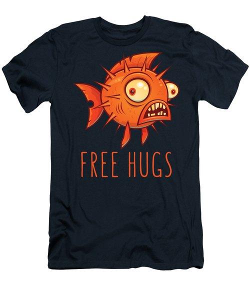 Free Hugs Cartoon Blowfish Men's T-Shirt (Athletic Fit)