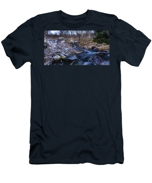 Frozen River And Winter In Forest Men's T-Shirt (Athletic Fit)