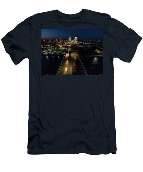 Men's T-Shirt (Athletic Fit) featuring the photograph Hoan Bridge Streaks by Randy Scherkenbach