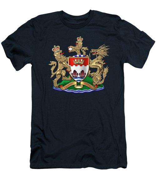 Hong Kong - 1959-1997 Coat Of Arms Over Blue Velvet Men's T-Shirt (Athletic Fit)