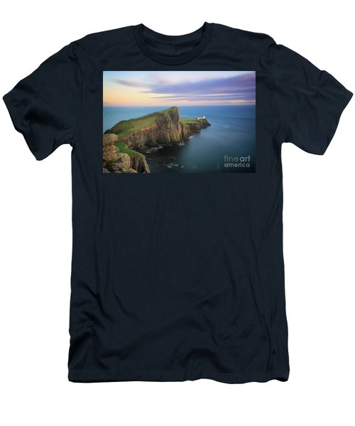 Men's T-Shirt (Athletic Fit) featuring the photograph Neist Point Lighthouse On Skye At Sunset by IPics Photography