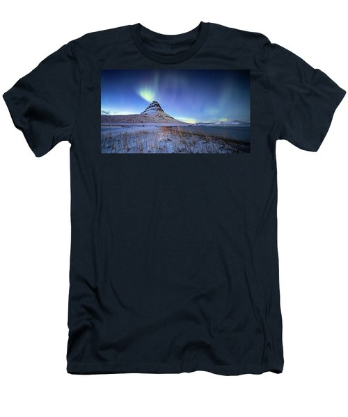 Northern Lights Atop Kirkjufell Iceland Men's T-Shirt (Athletic Fit)