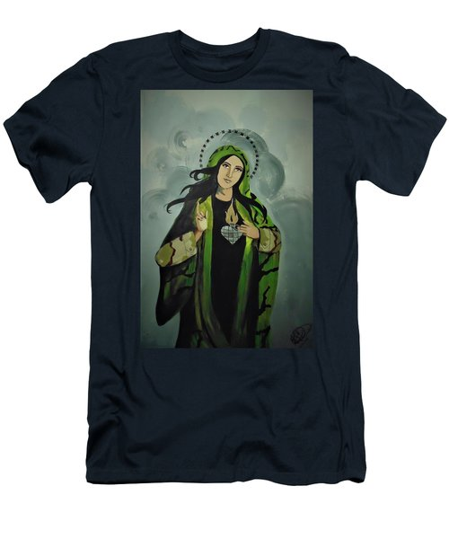 Men's T-Shirt (Athletic Fit) featuring the painting Our Lady Of Veteran Suicide by MB Dallocchio