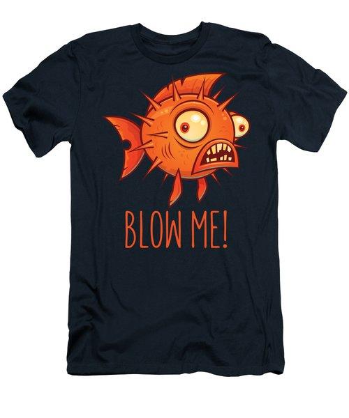 Porcupine Blowfish Cartoon - Blow Me Men's T-Shirt (Athletic Fit)