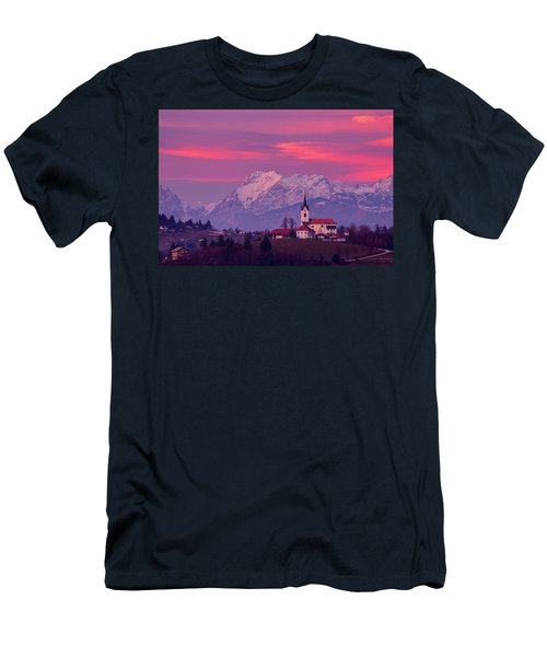 Prezganje Church With Snowy Kamnik Alps At Sunset Men's T-Shirt (Athletic Fit)