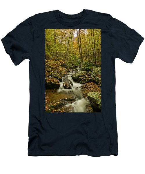 Men's T-Shirt (Athletic Fit) featuring the photograph Rocky Stream Vertical by Meta Gatschenberger