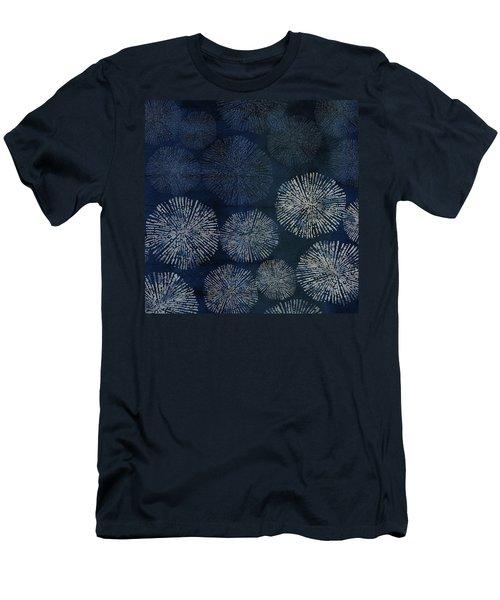 Shibori Sea Urchin Burst Pattern Dark Denim Men's T-Shirt (Athletic Fit)