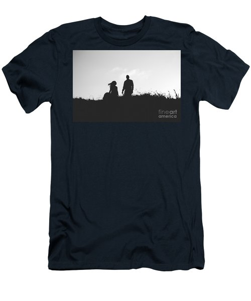 Silhouette Of Couple In Love With Wedding Couple On Top Of A Hil Men's T-Shirt (Athletic Fit)