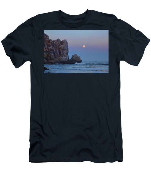 Snow Moon And Morro Rock Men's T-Shirt (Athletic Fit)