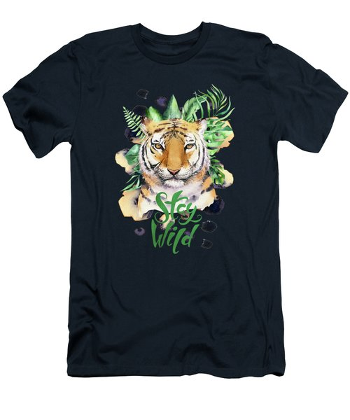 Stay Wild Tiger Men's T-Shirt (Athletic Fit)