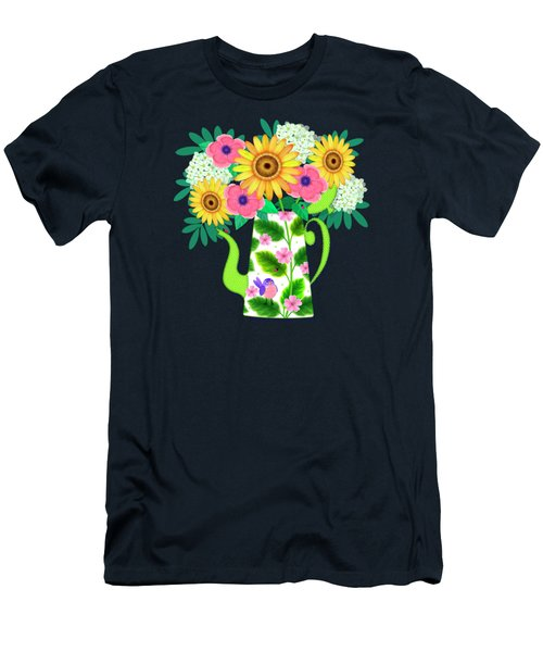 Summer Flowers In Coffee Pot Men's T-Shirt (Athletic Fit)