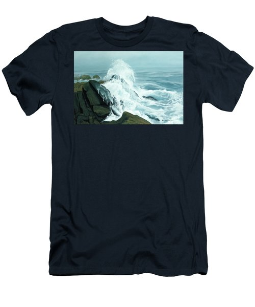 Surging Waves Break On Rocks Men's T-Shirt (Athletic Fit)