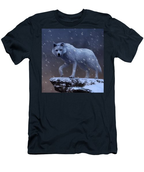 Men's T-Shirt (Athletic Fit) featuring the digital art White Wolf In A Blizzard by Daniel Eskridge