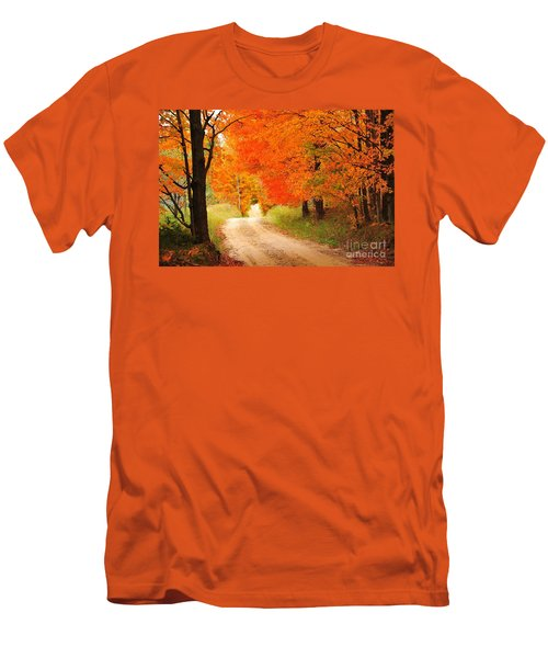 Men's T-Shirt (Slim Fit) featuring the photograph Autumn Trail by Terri Gostola