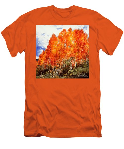 Men's T-Shirt (Slim Fit) featuring the painting Flaming Aspens 2 by Barbara Jewell