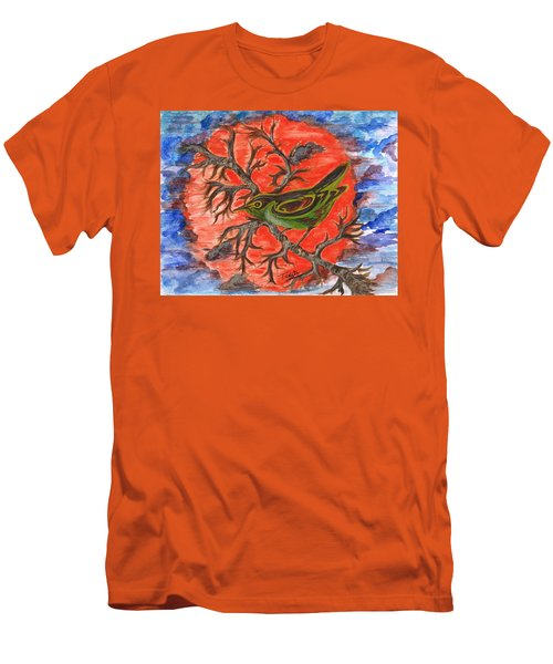Men's T-Shirt (Slim Fit) featuring the painting Green Warbler by Teresa White