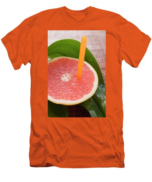 Half A Pink Grapefruit With A Straw Men's T-Shirt (Athletic Fit)