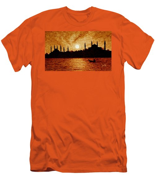 Men's T-Shirt (Athletic Fit) featuring the painting Sunset Over Istanbul Original Coffee Painting by Georgeta  Blanaru