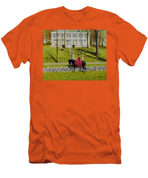 Men's T-Shirt (Slim Fit) featuring the painting Her Favorite Horse by Stacy C Bottoms