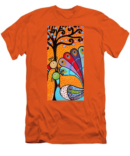 Men's T-Shirt (Slim Fit) featuring the painting 2 Peacocks And Tree by Pristine Cartera Turkus