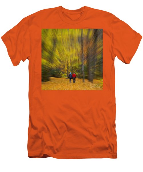 Men's T-Shirt (Slim Fit) featuring the photograph A Fall Stroll Taughannock by Jerry Fornarotto