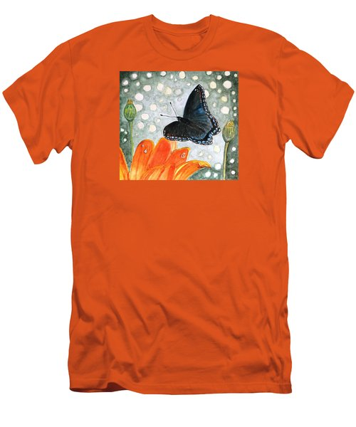 Men's T-Shirt (Slim Fit) featuring the painting A Garden Visitor by Angela Davies