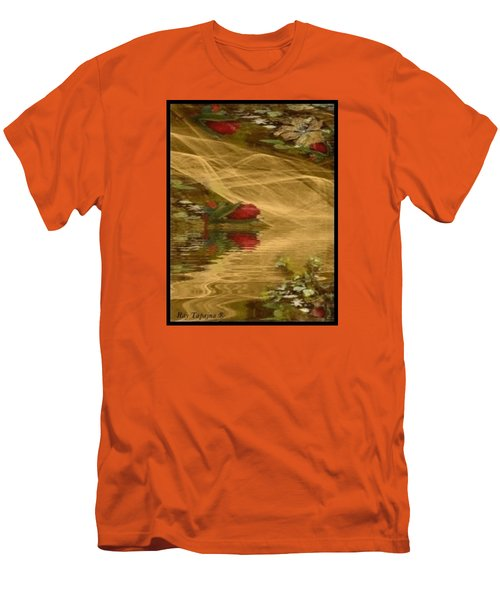 Men's T-Shirt (Slim Fit) featuring the mixed media A Rose Bud Stream by Ray Tapajna