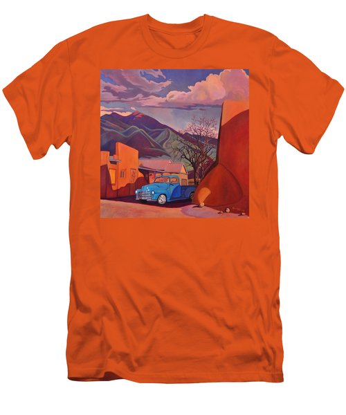 Men's T-Shirt (Slim Fit) featuring the painting A Teal Truck In Taos by Art James West