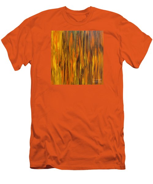 Men's T-Shirt (Slim Fit) featuring the painting Abstract Fireside by Susan  Dimitrakopoulos