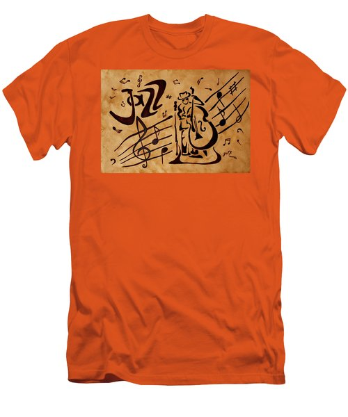 Men's T-Shirt (Athletic Fit) featuring the painting Abstract Jazz Music Coffee Painting by Georgeta  Blanaru