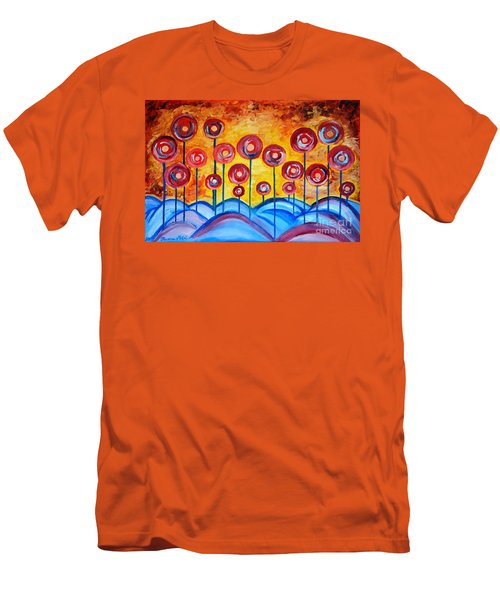Abstract Red Symphony Men's T-Shirt (Slim Fit) by Ramona Matei